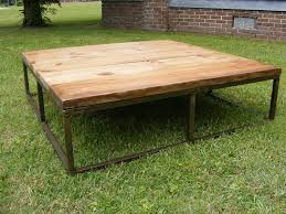 brick makers table rustic metal frame and old pine finish top