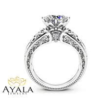 14k white gold engagement ring unique design 2 carat moissanite