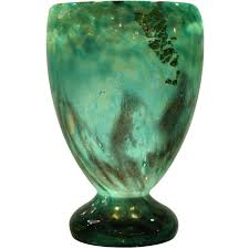 Dark Blue Glass Vase Daum Art Deco Glass Vase At 1stdibs