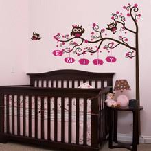 nursery crib name tree u0026 owls wall decal decalmywall com