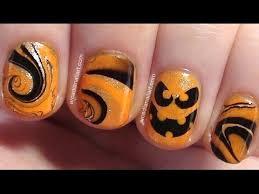 easy halloween pumpkin water marble nail art arcadianailart