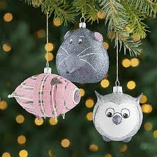 glass glitter animal ornaments set of 3 crate and barrel