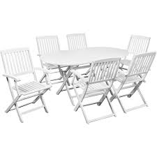 White Patio Dining Sets - white seven piece outdoor dining set white acacia wood lovdock com