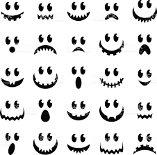 halloween black and white background vector collection of spooky halloween ghost and pumpkin faces