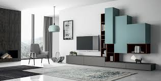 contemporary tv wall unit wooden lacquered modular