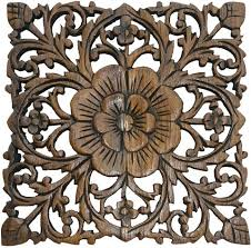 wood carved wall decor wood plaque carved lotus rustic