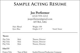 Example Acting Resume Sample Acting Resume Free Acting Resume Samples And Examples Ace