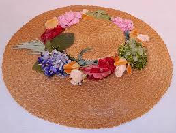 Vintage Velvet Flowers - vintage woven natural straw silk velvet flowers wide brim summer