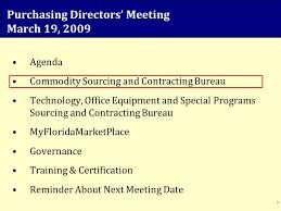 agenda bureau purchasing directors meeting march 19 agenda commodity sourcing