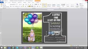 1st birthday invitation template for ms word youtube