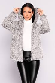 and toasty faux fur hooded jacket grey
