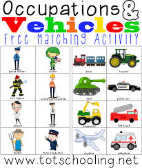 occupations u0026 vehicles matching activity totschooling toddler