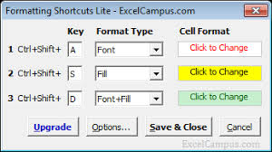 keyboard shortcuts to change font u0026 fill color or cell style