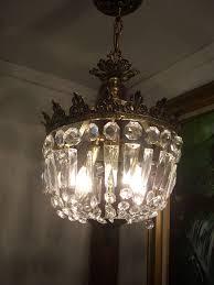 Basket Chandeliers Vintage Prisms Gold Crown Basket Chandelier Ceiling Light