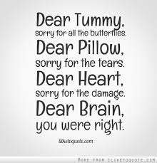 dear tummy sorry for all the butterflies dear pillow sorry for