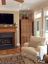 lenox tan benjamin moore in warm farmhouse style living room with