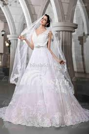 luxurious v neck wedding dresses lace chapel train with a veil