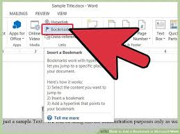 5 ways to add a bookmark in microsoft word wikihow