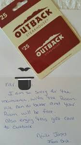 hotel gift card gift card and apology letter detailing my stay would be on the house