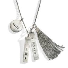 Cheap Personalized Necklaces Diamond Tassel Personalized Necklace Eclectic Hand Stamped