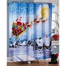 Tweety Bird Shower Curtain Amazon Com Santa U0027s Flight Christmas Bathroom Shower Curtain By