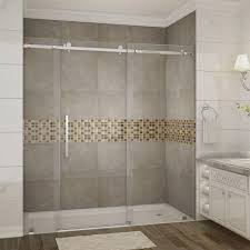 Door Shower Aston Moselle 72 In X 75 In Completely Frameless Sliding Shower