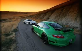 green porsche 911 car porsche porsche 911 gt3 rs porsche 911 sunset road