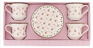 roses teacups set of 4 rosebud porcelain tea cups and saucers in gift box