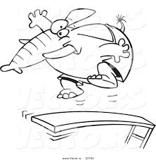vector of a cartoon elephant jumping on a diving board coloring