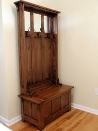rustic coat rack hall tree farmhouse style wood stained hooks