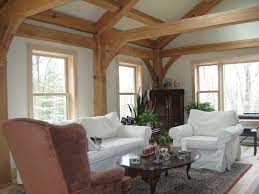 new england custom timber frame cabin with cathedral ceiling from
