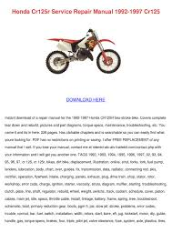 honda cr125r service repair manual 1992 1997 by randi reedus issuu