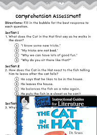 the cat in the hat comprehension assessment teachers classroom