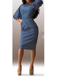 dress puffy sleeves blue with white polka dots knee length