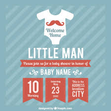 baby shower card template for boy vector free