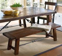 stylish dining room table with bench lath back side chair tapered