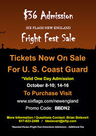 Six Flags October Six Flags Fright Fest Ticket Discount Uscg Base Cape Cod Mwr