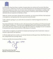 priti patel resignation letter in full as cabinet member quits