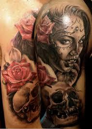 day of the dead pin up 3 sugar skulls tattoos