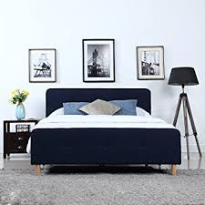mid century modern linen fabric low profile bed frame Low Profile Bed Frame