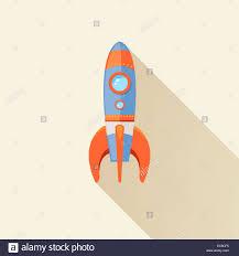 space rocket ship start cartoon futuristic travel emblem with