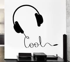 fashion music vinyl wall decal headphones music sign rock pop