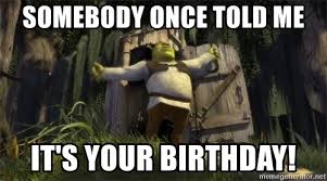 Somebody Once Told Me Meme - somebody once told me it s your birthday birthday shrek meme