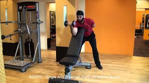 biceps single arm preacher curls on incline bench youtube