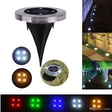 2018 led solar ground lights 4leds stainless steel abs garden path