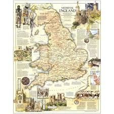 Hastings England Map by 1979 Medieval England Map National Geographic Store