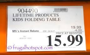 Lifetime Kids Table Costco Sale Lifetime Children U0027s Folding Table 15 99 Frugal Hotspot
