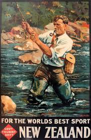 fishing in new zealand maps pop retro vintage kraft travel poster