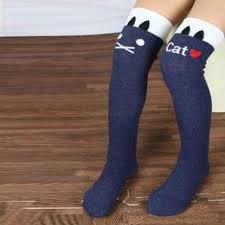 lovely kids girls multi color striped cotton long socks knee high