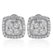 cluster stud earrings cushion shaped baguette diamond cluster stud earrings in 18k white